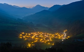 Picture mountains, lights, morning, valley, the village