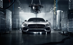 Picture Mercedes-Benz, Front, AMG, Color, Silver, Engine, Workshop, 2016, GT S