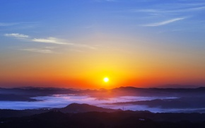 Picture the sky, the sun, clouds, sunset, mountains