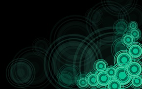 Picture circles, abstraction, green, black, vector, texture, ornament