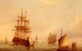 Picture sea, the sky, dawn, boat, ship, sailboat, picture, port