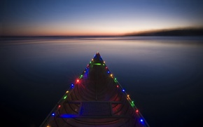 Picture river, boat, colorful, in the lights