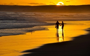 Picture beach, girl, romance, the evening, guy, two, a romantic walk on the beach