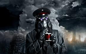 Picture the sky, mask, mug, Captain, devastation, romance of the Apocalypse, romantically apocalyptic