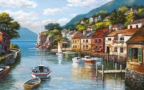 Picture sea, the city, picture, boats, painting, painting, Sung Kim