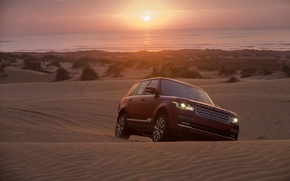 Picture sand, sunset, background, horizon, jeep, Land Rover, Range Rover, the front, Range Rover, Land Rover