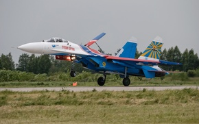 Picture the rise, Su-27, fighter, the airfield