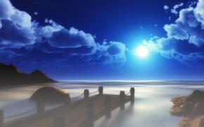 Picture sea, the sky, the sun, clouds, landscape, bridge, art