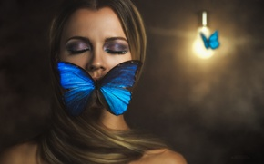 Picture girl, butterfly, the situation