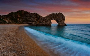 Wallpaper grottoes, shore, arch, coast, sea, beaches, the evening, water, the ocean, rocks, landscapes, nature, pebbles, ...