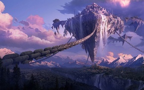 Picture forest, mountains, the city, height, waterfall, art, canyon, fortress, chain, in the sky, flying island, …