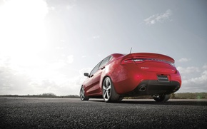 Picture The sun, The sky, Red, Auto, day, Asphalt, Dodge, Dart-GT