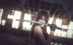 Picture girl, background, sword, Asian