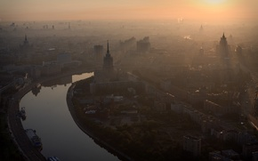 Wallpaper Moscow, morning, river