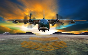 Picture landing, takeoff, the plane, average, transport, horizon, clouds, the airfield, twin-engine, airplane, beautiful background, wallpaper., ...