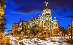 Picture night, street, excerpt, Spain, Night, Spain, Madrid, Calle de Alcalá, Gran Vía