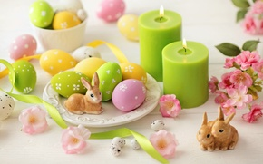 Picture flowers, tape, eggs, candles, Easter, rabbits, flowers, Easter, eggs