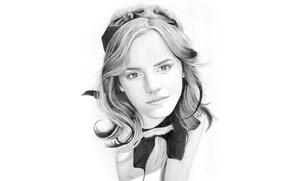 Picture figure, portrait, pencil, Emma Watson