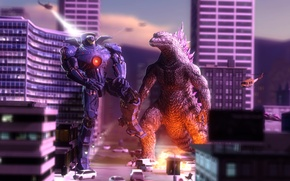 Picture art, crossover, godzilla, pacific rim