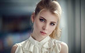 Wallpaper portrait, the beauty, curls, bokeh, Ira, Irina Popova