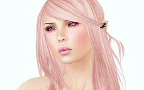 Picture girl, white background, render, pink hair
