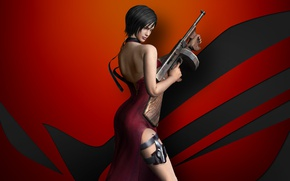 Picture gun, game, dress, weapon, spy, Asus, brunette, asian, pose, Biohazard, chinese, Ada Wong, Resident Evil …