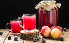 Picture apples, Bank, mugs, plum, compote