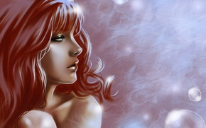 Picture girl, face, hair, art, profile, red, puziriki