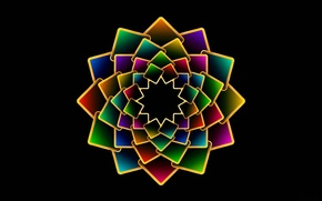 Picture flower, petals, the volume, symmetry, layer, plate