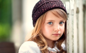 Picture look, girl, freckles, hat, the beauty, child photography, Doll Face