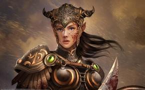 Wallpaper girl, blood, elf, armor, warrior, knight, Eko Puteh Handriyanto