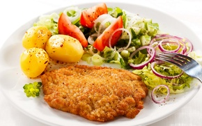 Picture food, chicken, bow, plate, plug, tomatoes, potatoes, products, baked, meat