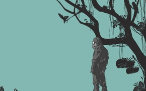 Wallpaper branches, minimalism, infection, Vector, monkey