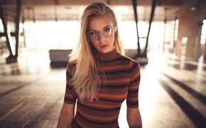 Picture look, girl, makeup, tattoo, glasses, hairstyle, blonde, hall, jacket, striped, bokeh, beautiful., Sebastian Heberlein