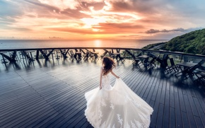 Picture girl, sunset, beauty, dress