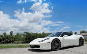 Picture white, the sky, clouds, shadow, white, ferrari, Ferrari, sky, Italy, clouds, 458 italia, Miami, miami