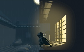 Picture light, night, house, silhouette, window, ninja, Mini Ninjas