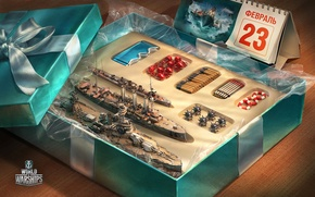 Wallpaper the game, toy, box, gift, February 23, gift, World Of Warship