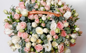 Wallpaper eustoma, buds, basket, basket, roses, Roses, bouquet, luxury, Bouquets