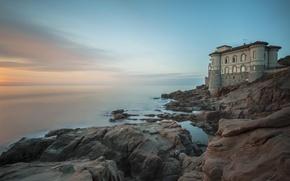 Picture sea, sunset, stones, shore, the building