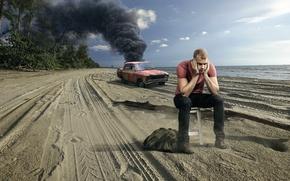 Picture crash, beach, smoke, guy, car