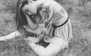 Picture girl, grass, dress, field, woman, model, tattoo, redhead, black and white, tattoos, Hattie Watson, female, …