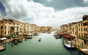 Picture the sky, water, people, overcast, building, home, boats, Italy, Venice, architecture, Italy, gondola, Venice, The …
