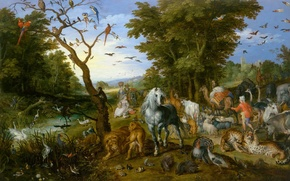 Wallpaper Noah Gathers the Animals for the Ark, picture, Jan Brueghel the elder, mythology