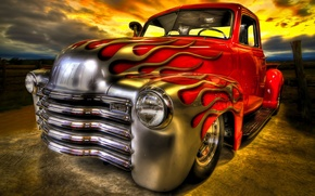 Picture fire, flame, car, Hot Rod, classic