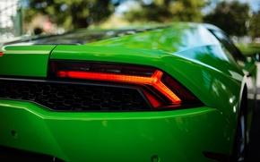 Picture green, bokeh, Lamborghini Hurricane