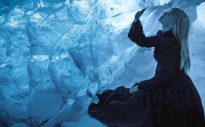 Picture cold, girl, ice, cave, pulse