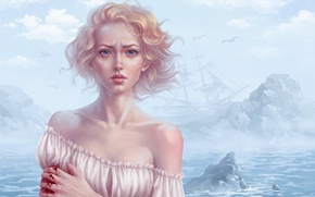 Picture sea, clouds, the wind, blood, ship, seagulls, art, blonde, tears, drawn girl