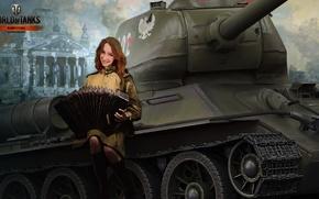 Picture girl, tank, girl, tanks, Bayan, WoT, World of tanks, tank, World of Tanks, tanks, T-34-85, …