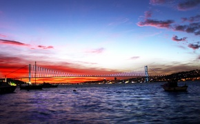 Picture the sky, sunset, Strait, Istanbul, Turkey, Istanbul, Turkey, The Bosphorus, Bosphorus bridge